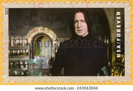 UNITED STATES OF AMERICA - CIRCA 2013: forever post stamp printed in USA shows Alan Rickman as professor Severus Snape in his laboratory; scenes from Harry Potter movies; Scott 4834; circa 2013 - stock photo