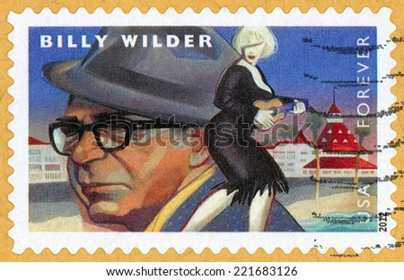 UNITED STATES OF AMERICA - CIRCA 2012: forever stamp printed in USA shows film director, producer, screenwriter Billy Wilder (1906-2002); movie scene some like it hot; Scott 4670; circa 2012 - stock photo
