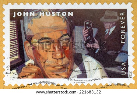 UNITED STATES OF AMERICA - CIRCA 2012: forever stamp printed in USA shows portrait of film director, screenwriter & actor John Huston (1906-1987); movie scene Maltese Falcon; Scott 4671; circa 2012 - stock photo