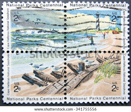 UNITED STATES OF AMERICA - CIRCA 1972: Four postage stamps of USA shows Cape Hatteras National Seashore, National Parks Centennial issue - stock photo