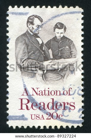 UNITED STATES OF AMERICA-CIRCA 1984: stamp printed by United States of America, shows   Reading of Linkoln and his son, circa 1984