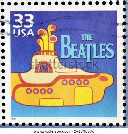 UNITED STATES OF AMERICA - CIRCA 1999: Stamp printed in USA dedicated to celebrate the century 1960s, shows the beatles, circa 1999 - stock photo
