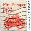 UNITED STATES OF AMERICA - CIRCA 1981: stamp printed in USA shows Fire pumper 1860s, circa 1981 - stock photo