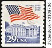 UNITED STATES OF AMERICA - CIRCA 2001: stamp printed in USA, shows flag and the white house, circa 2001 - stock photo