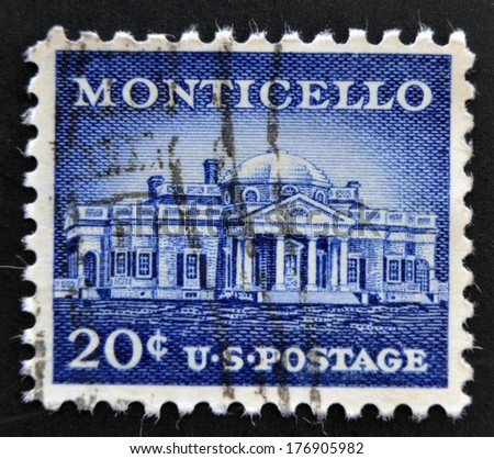 UNITED STATES OF AMERICA - CIRCA 1956:  stamp printed in USA, shows Monticello - the primary plantation of Thomas Jefferson, the third President of the United States, circa 1956  - stock photo
