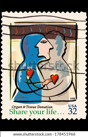 UNITED STATES OF AMERICA - CIRCA 2014: stamp printed in USA shows organ and tissue donation, USA 32c, circa 2014 - stock photo
