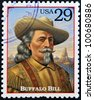 UNITED STATES OF AMERICA - CIRCA 1994 : Stamp printed in USA shows portrait of the Buffalo Bill, American soldier and bison hunter, circa 1994 - stock photo