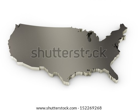 United States America D Metal Map Stock Illustration - United states of anerica map