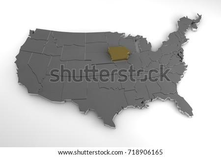United States America 3 D Metallic Map Stock Illustration 718906165 ...