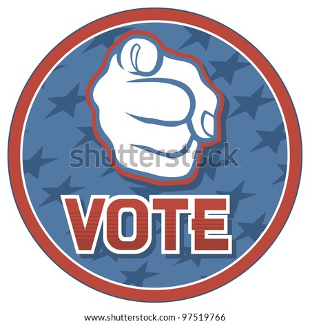 United States of America Elections pins (badge, design, hand pointing) - stock photo