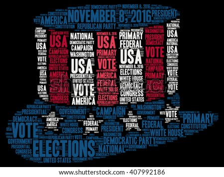 United States of America elections 2016 word cloud - stock photo