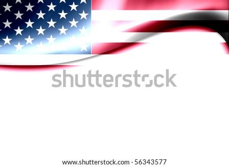 United States of america flag wave. Dynamic  illustration - stock photo