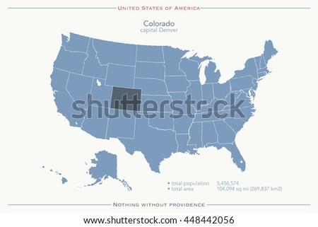 Usa Map Name Countriesunited States America Stock Vector - Denver colorado in us map