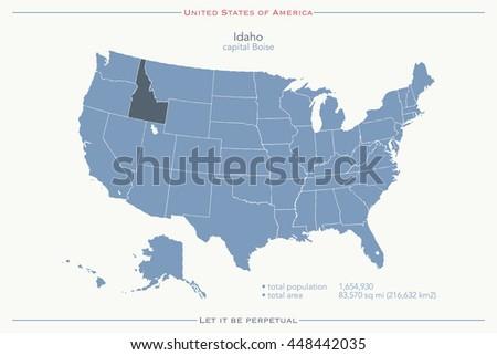 United States America Isolated Map Idaho Stock Illustration