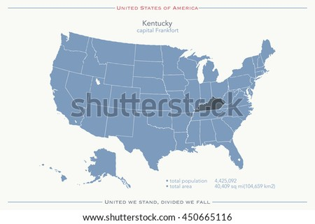 United States America Isolated Map Wisconsin Stock Vector - Map of united state of america