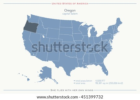 United States Of America Isolated Map And Oregon State Territory Usa Political Map Ilration