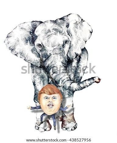 UNITED STATES OF AMERICA, JUNE 2016- Cartoon of Republican Presidential Candidate Donald Trump in Front of an Elephant which is the Symbol of the Republican Party