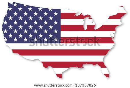 United States Of America Map With Flag - stock photo