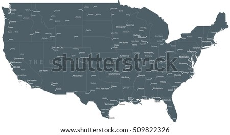 United States America Political Map Detailed Stock Vector - Large map of usa