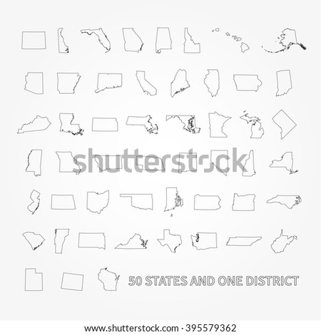United States of America 50 states and 1 federal district. US states map. - stock photo