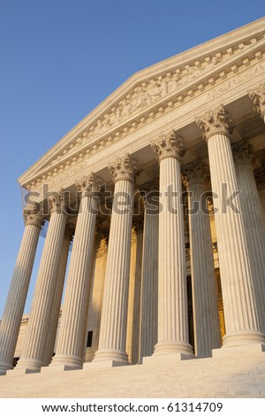 United States of America Supreme Court exterior front at sunset. - stock photo