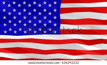 United States of America (USA) flag, United States of America is in america, 3D abstract low poly stylized background.