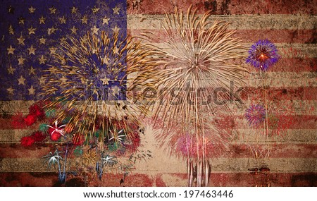 United States of America USA Flag with Fireworks Background For 4th of July in vintage style - stock photo