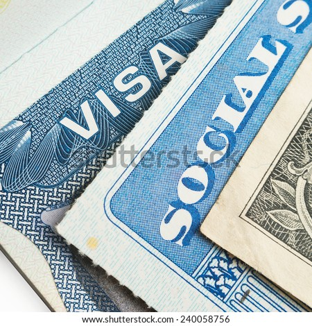 United States of America visa, social security card and dollar bill closeup macro - stock photo