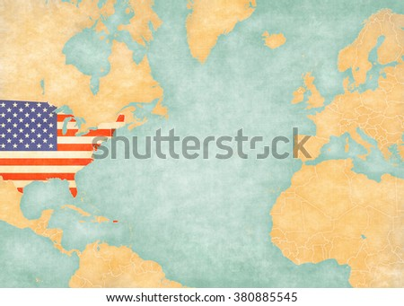 United States On Map North Atlantic Stock Illustration - Atlantic ocean on us map