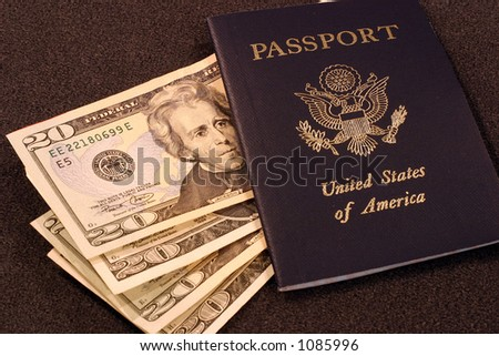 United States Passport with Cash - stock photo