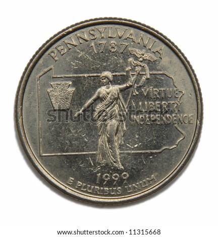 United States Pennsylvania collection quarter dollar - stock photo