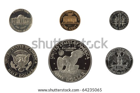 United states proof coins isolated - stock photo