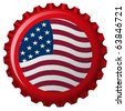 united states stylized flag on bottle cap, abstract art illustration; for vector format please visit my gallery - stock photo