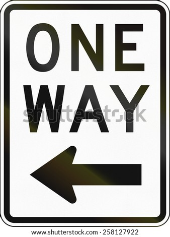 United States traffic sign: One way