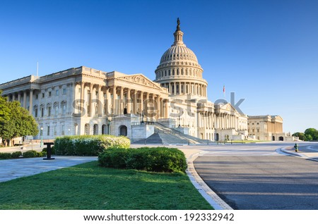 United States US Capitol Building as seen from Independence Avenue in Washington, DC in spring. - stock photo