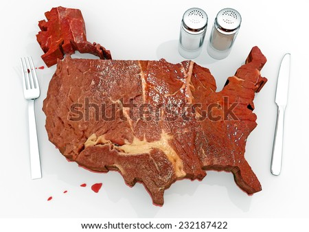 United Steaks of America: An illustration related to the enormous consumption of steak and red meats in the United States. The great American barbecue! - stock photo