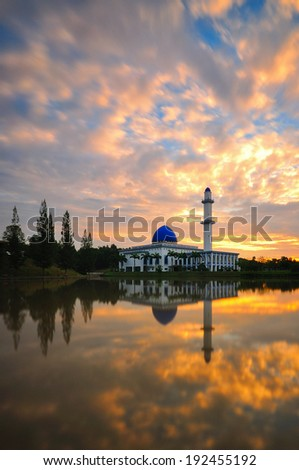 Uniten Mosque during sunrise - stock photo