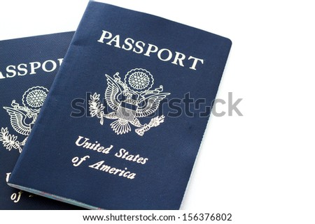 Unites States of America passport on a white background.