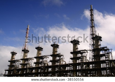 Units for nitric acid production on fertilizer plant - stock photo