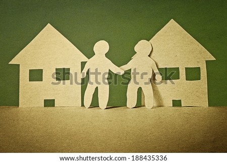 unity and friendship of neighbors in vintage paper style - stock photo