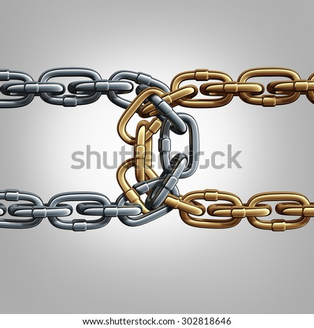 Unity chain connected concept as two different groups of chains tied and linked together as an unbreakable connection as a trust and faith metaphor for dependence and reliance. - stock photo