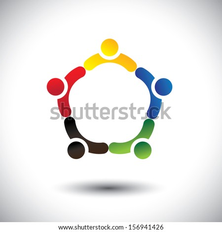 unity in people community, solidarity & friendship concept graphic. This illustration can also represent colorful kids playing together holding hands in circles or union of employees, workers or staff - stock photo