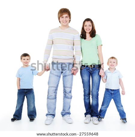 unity of happy loving young family holding each other hands - stock photo