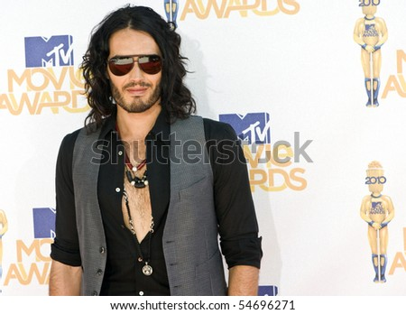 UNIVERSAL CITY, CA - JUNE 06: Russell Brand arrives on the Red Carpet at the 2010 MTV Movie Awards at Gibson Amphitheatre on June 6, 2010 in Universal City, California. (Photo by Jonathan Nowak) - stock photo