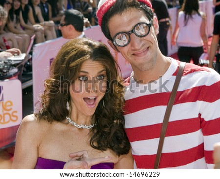 UNIVERSAL CITY, CA - JUNE 06: Samantha Harris with Waldo on the Red Carpet at the 2010 MTV Movie Awards at Gibson Amphitheatre on June 6, 2010 in Universal City, California. (Photo by Jonathan Nowak) - stock photo