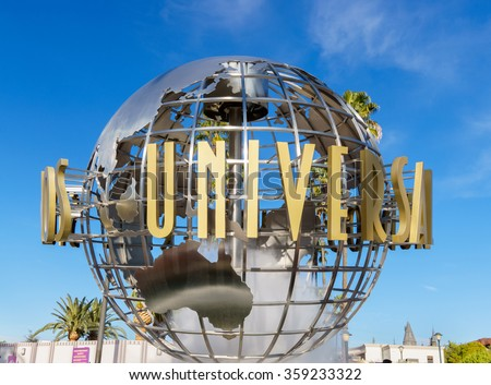 UNIVERSAL CITY, CA/USA DECEMBER 22, 2015: Universal Studios of Hollywood Globe. Universal Studios Hollywood is a film studio and theme park - stock photo