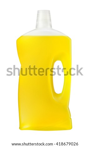 Universal cleanser. Photography of yellow plastic bottle with liquid laundry detergent, cleaning agent, bleach or fabric softener - isolated on white background - stock photo