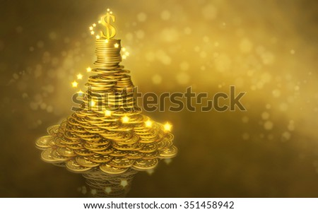 Universal greeting  New Year business card. Mound of gold coins as a Christmas tree decorated with lights and a shining dollar sign on the top - stock photo