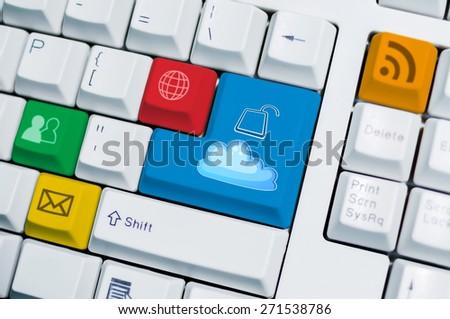 Universal internet symbol keyboard with cloud unlock button on enter - stock photo