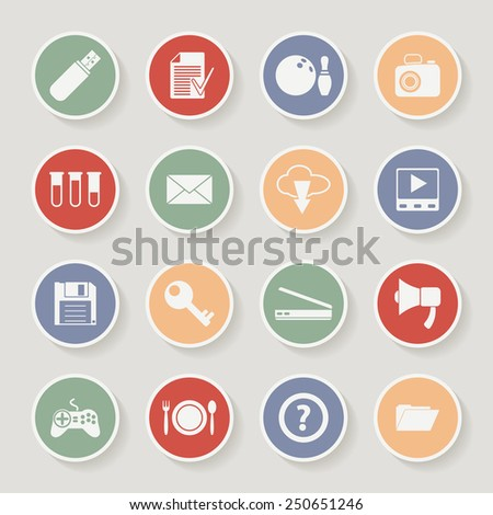 Universal Round Icons For Web and Mobile. Raster version - stock photo